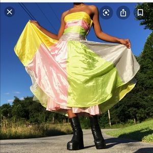 Betsey Johnson rainbow prom dress